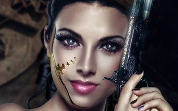 eyes, art, girl, weapons, look, hair, face, cyborg, revolver