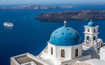 море, острова, церковь, греция, купол, лайнер, санторини, эгейское море, колокольня, имеровигли, церковь ай-стратис