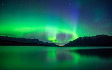 небо, свет, ночь, отражение, сияние, канада, альберта, полярное сияние, озеро авраам