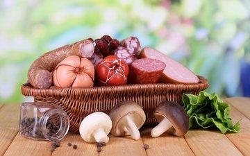 грибы, колбаса, боровики