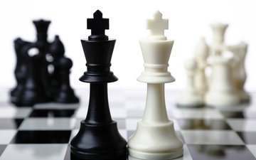 шахматы, черный, белый, белая, король, блака, шахматная