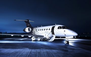 aviation, airport, night lights, private jet