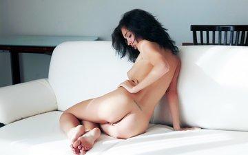 девушка, поза, кровать, ногами, karen