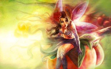 art, girl, flower, wings, fairy, sitting