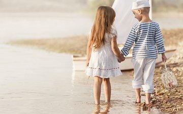 берег, море, платье, дети, девочка, мальчик, друзья, берег моря, gевочка