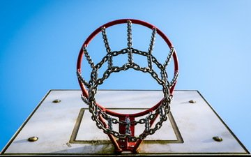 the sky, background, ring, basketball hoop