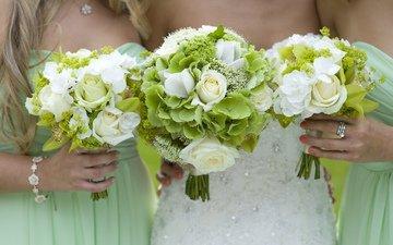 цветы, розы, девушки, кольцо, девочки, руки, свадьба, невеста, подруги, букеты