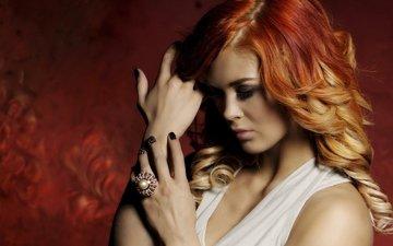 девушка, настроение, рыжая, модель, кольцо, волосы, руки, локоны, рыжеволосая