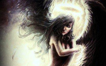 girl, wings, angel, black
