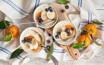 фрукты, ягоды, черника, салфетка, мандарины, бананы, творог