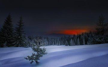 обои, закат, зима, болгария