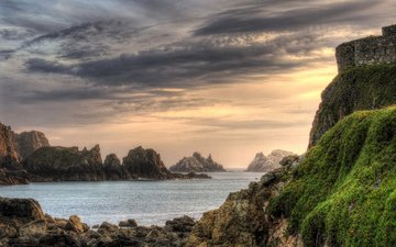 скалы, море, побережье, мох, бухта, ирландия