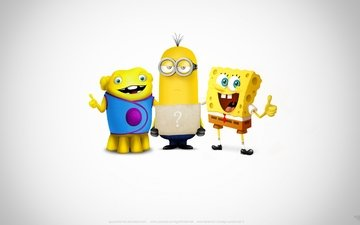 kevin, spongebob, minion, super team