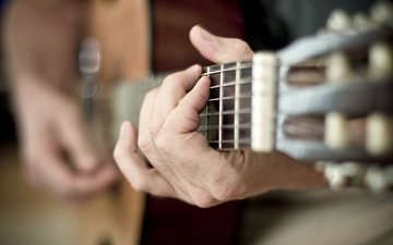guitar, music, hands
