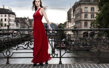 стиль, девушка, платье, мост, город, модель, красное, красное платье, барьер