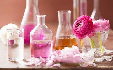 цветы, лепестки, розовые, спа, натюрморт, колбы, ароматерапия, алхимия