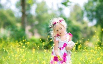 цветы, природа, лето, девочка, ребенок, детство, венок