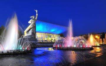 ночь, огни, города, город, фонтан, россия, памятник, россии, аврора, кинотеатр, ноч, краснодар, монумент, кубань