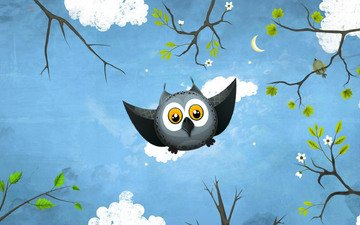 art, owl, flight