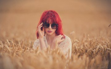 girl, field, glasses, wheat