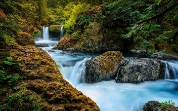 река, скалы, природа, лес, водопад