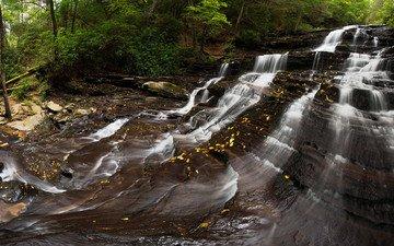 река, природа, пейзаж, водопад