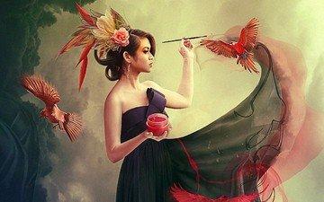 девушка, краска, птицы, кисть, фотоманипуляция