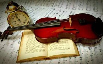 violin, book, alarm clock