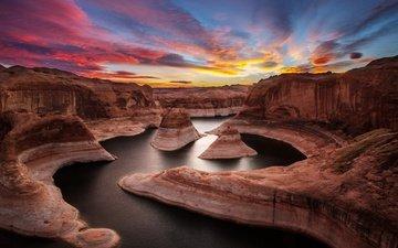 река, скалы, природа, закат, каньон, ущелье