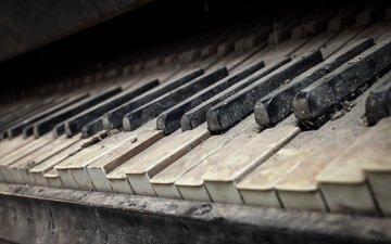 винтаж, старый, пыль, клавиши, рояль