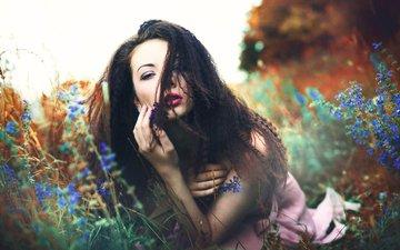 макияж, цветочки, anna soukupová, marketa novak