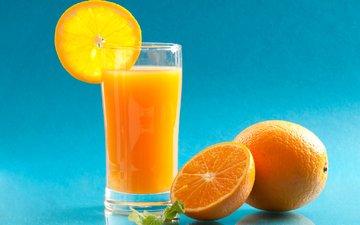апельсины, напитки, стакан, апельсиновый сок, сок