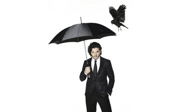 black, actor, bird, umbrella, photographer, white background, costume, newspaper, photoshoot, crow, 2015, kit harington, dean chalkley, the observer