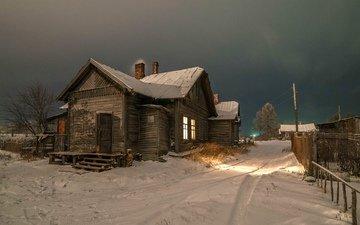 зима, деревня, дом