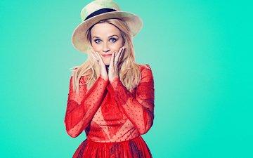 зелёный, фон, платье, блондинка, модель, фотограф, актриса, шляпа, в красном, фотосессия, 2015 год, mary ellen matthews, saturday night live, snl, риз уизерспун