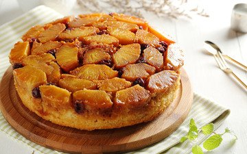 выпечка, пирог, ананас