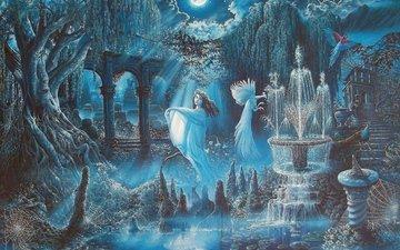 night, girl, the moon, fantasy, birds, fantasy world, fountains
