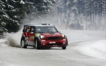 snow, forest, people, red, rally, mini, mini cooper