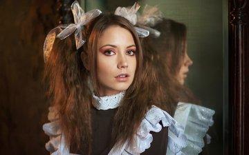 девушка, портрет, взгляд, форма, волосы, лицо, школьница, бант, ксения кокорева