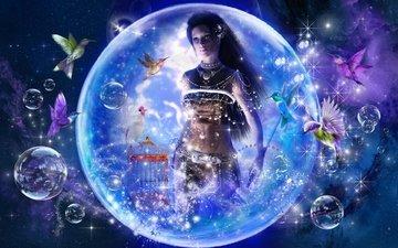girl, fantasy, birds, journey to fairytale