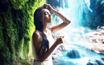 девушка, платье, водопад