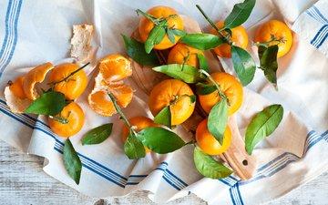 фрукты, листики, салфетка, мандарины, цитрусы