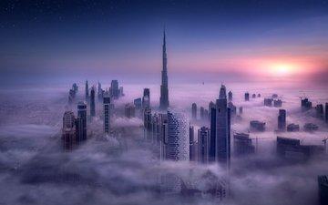 пейзаж, город, небоскребы, здания, дубай, оаэ