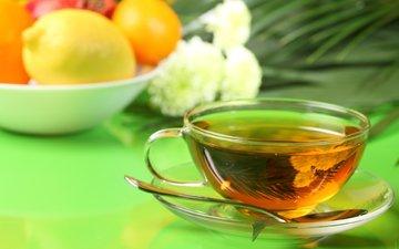 фрукты, чашка, чай, ложка