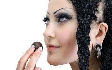 девушка, портрет, взгляд, модель, профиль, волосы, лицо, макияж, женщина, пирсинг, грим, сексапильная