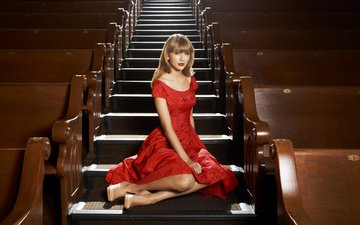 ladder, steps, dress, blonde, hall, sitting, photographer, actress, singer, red dress, in red, taylor swift, sony inside edge, nigel baker