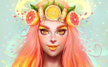 eyes, art, girl, look, beauty, anime, hair, face, fruit, citrus