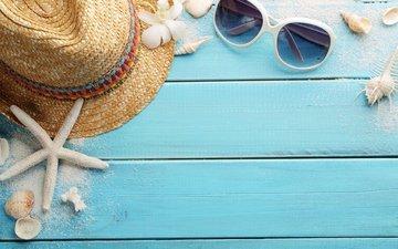 flowers, beach, summer, glasses, shell, hat