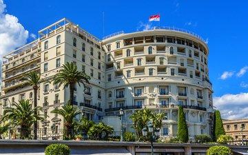 пальмы, дом, флаг, здание, монако, монте-карло