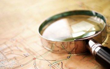 карта, стекло, лупа, географическая карта, увеличительное стекло, cтекло